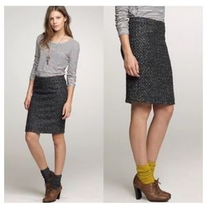 J Crew Moss/Purple Wool Tweed Pencil Skirt